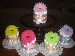 flower baby shower centerpieces mini diaper cakes different in