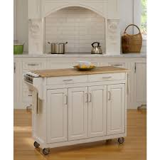 Wood Top Kitchen Island Home Styles Create A Cart White Kitchen Cart With Natural Wood Top