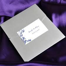 affordable pocket wedding invitations blue floral swirl damask with grey pocket affordable