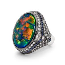 black opal certified 25 10 carat lightning ridge black opal blue sapphire