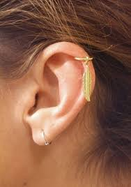 gold cartilage earrings gold cartilage hoop gold feather earring caymancode