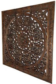 square wood wall decor wood carved wall plaque wood carved lotus wall