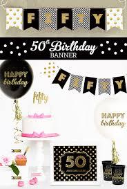 50th birthday party ideas 50th birthday banner fifty birthday gold glitter banner