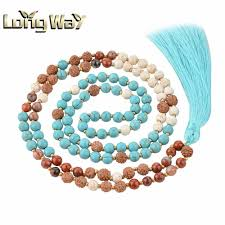 necklace designs with beads images Amazonite howlite 108 mala beads necklace design with turquoise jpg