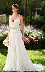 grecian style wedding dresses flowy grecian bridal gown with sparkly belt stella york