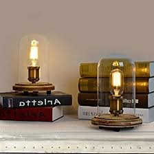 jiayoujia retro industrial style edison bulb glass cloche table