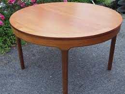 Round Dining Table Extends To Oval Lovely Retro Vintage Mid Century Nathan Teak Extending Dining