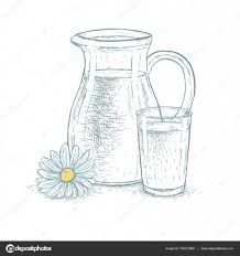 hand drawn milk jug and glass of milk with daisy vector sketch