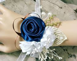 navy blue corsage blue wrist corsage etsy