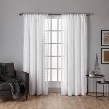 Winter Window Curtains Spirit Winter White Woven Pouf Applique Sheer Rod Pocket Top