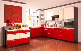 elegance kitchen with red and white kitchen cabinets also white