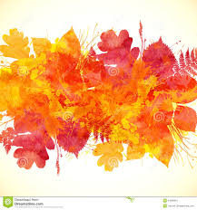 watercolor collection of beautiful orange autumn leaves stock