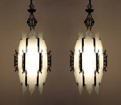 Pendant Lighting With Matching Chandelier Two Matching Large Antique Art Deco Pendant Lights With Frosted