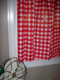Red And White Curtains For Kitchen by Vintage Curtains Kitchen Red White Gingham Checked Plaid New Old