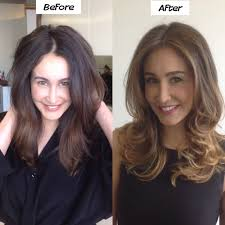before after of a full highlight brunette to blonde in one