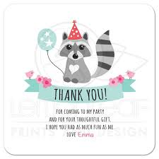 birthday thank you card raccoon with balloon and hat personalized text