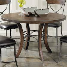 Round Wood Dining Room Tables Round Wood Dining Table With Metal Acent Base By Hillsdale Wolf