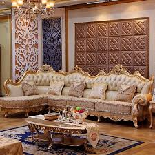 Gold Sofa Living Room Luxury Leather Sofa Living Room Wood Carving And Gold Corner Sofa