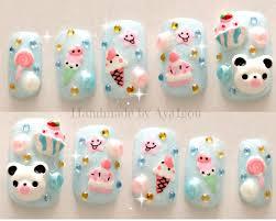 nail design center sã d kawaii nails kuma 3d nails japanese nail summer