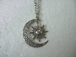 crescent moon and sun necklace vintage crescent moon sun charm