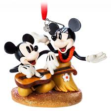 mickey and minnie mouse sketchbook ornament hawaiian holiday