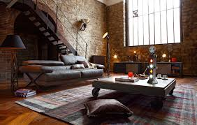 apartment shabby chic attic apartments decor with brick floor