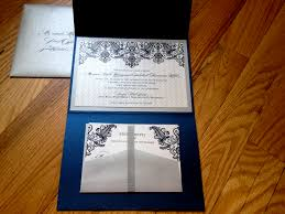 stunning navy blue and silver tri fold wedding invitations