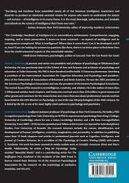 the cambridge handbook of intelligence cambridge handbooks in