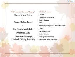 fall wedding programs wedding programs