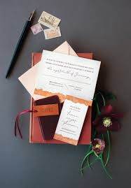 wedding invitations lewis cranberry copper leather invitation coral pheasant photo by