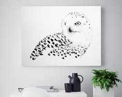 snowy owl drawing print red sun winter illustration