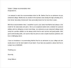 College Letter Of Recommendation From 9 Letters Of Recommendation For Scholarship Free Sle
