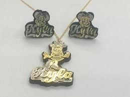 name plate earrings personalized baby 14k gold plate any 3d name any color onyx any