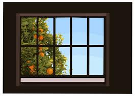clipart window with orange tree