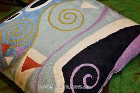 Modern Throw Pillows For Sofa Klimt Cushion Cover Marine Embroidered Wool 18 X 18