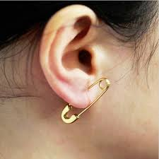 ear pin earrings 24k gold plated stainless steel safety pin earrings malala jewelry