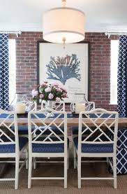 blue dining room with bamboo chairs cottage dining room
