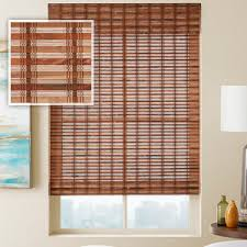 Roman Shades Over Wood Blinds Bamboo Shades Woven Wood Blinds From Selectblinds Com
