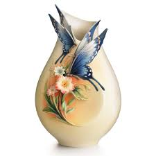 Beautiful Vases Franz Collection Fluttering Beauty Flower And Butterfly Small Vase