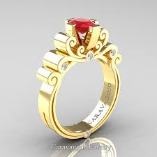 gold 1 carat engagement rings caravaggio 14k yellow gold 1 0 ct oval ruby engagement