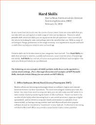 Example Artist Resume Hard Skills Examples On A Resume Resume For Your Job Application