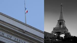 French Flag Eiffel Tower Lds Church Flies French Flag Leaders Express Support For France