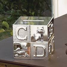 silver piggy bank for baby personalized silver plated block bank abc block bank