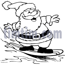 surfboard coloring free drawing surfing santa bw