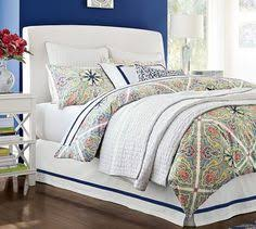 Pottery Barn Upholstered Bed Fillmore Curved Upholstered Tall Bed U0026 Headboard Pottery Barn No