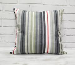 Striped Home Decor Fabric Striped Cotton Pillow Cover Back Side Cotton Fabric Gray Canvas