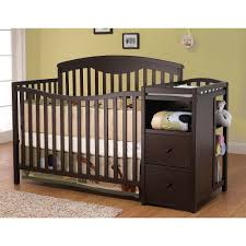 Espresso Baby Crib by Crib With Attached Changing Table And Drawers Chest Of Drawers