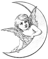 angel moon vintage graphics fairy coloring wecoloringpage