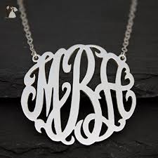 Three Initial Monogram Necklace Personalized Monogram Necklace In 925 Sterling Silver 3 Initial