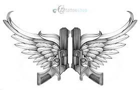 guns with wings custom illustration by at b shop my